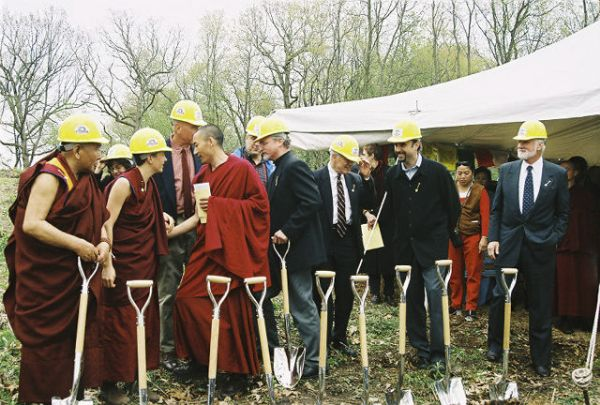 Deer Park Buddhist Center Temple groundbreaking ceremony with Geshe L Sopa, Sherab, Ani Jampa, Eric Vogel (architect), construction company and other public officials.
