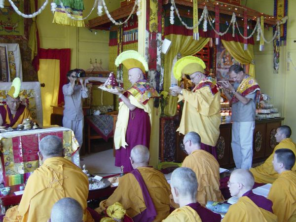 Blessing Ceremony in the original Deer Park Buddhist Center Temple with Geshe L Sopa, ordained sangha and lay participants.
