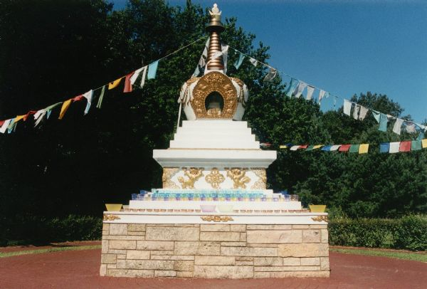 The Deer Park Stupa (reliquary) dedicated to the Kalachakra Ceremony performed at this location in 1981.