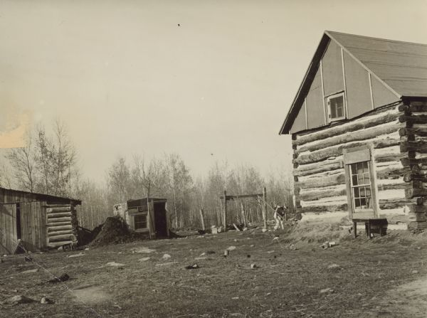 "Original caption reads: ""The Roughan home, with the rude log house at the right and the barn in the background. It is typical of the desolate home Wisconsin families will leave behind, perhaps forever, when they sail for new homes in a new country."" Caption on print reads: ""This is the Wisconsin farm Henry James Roughan left at Monico, Wis."""
