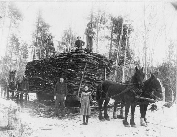 Men with horse-drawn load of lumber with a little girl standing in front.