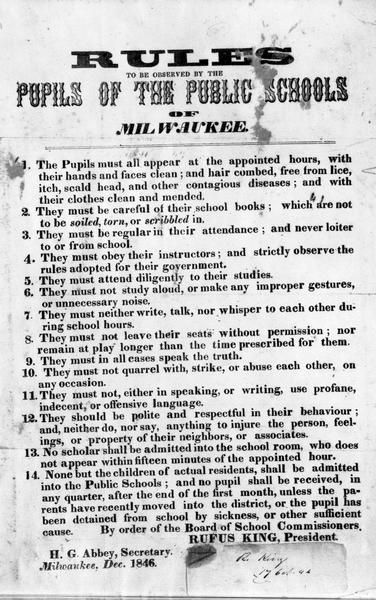 """Rules to be observed by the pupils of public schools of Milwaukee."""