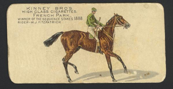"Cigarette Advertising card produced by Kinney Brothers. Depicted is W.J. Fitzpatrick, a jockey and 1888 winner of ""The Sequence Stakes."""