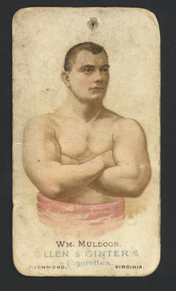 Cigarette advertising card produces by Allen and Ginters. Depicted is William Muldoon, wrestler. Muldoon learned how to wrestle in the Civil War camps of the North. Known for his strength and endurance, he was a world champion in Greco-Roman wrestling.