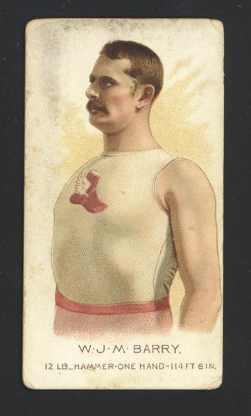 Cigarette Advertising Trade Card produced by Allen and Ginter. Depicted is W.J.M. Barry, Hammer Thrower.