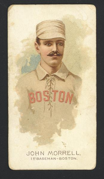 Cigarette Advertising Trade Cards produced Allen and Ginter. Depicted is John Morrell, a first baseman for Boston.