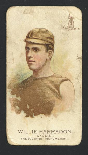 "Cigarette Advertising Cards produced by Allen and Ginter. Depicted is Willie Harradon, a cyclist also known as ""The Youthful Phenomenon."""