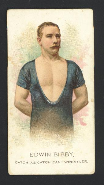 Cigarette Advertising Card produced by Allen and Ginter. Depicted is Edwin Bibby, a wrestler.