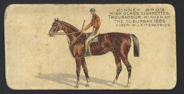 "Cigarette Advertising Card produced by Kinney Brothers. Depicted is W.J. Fitzpatrick, a jockey and winner of ""The Suburban 1886."""