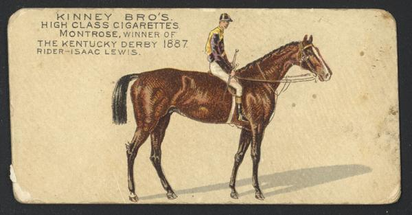 Cigarette Advertising Card produced by Kinney Brothers. Depicted is Isaac Lewis, a jockey. Lewis rode in four consecutive Kentucky Derbies, 1886-1889, winning in 1887 as a 17-year-old on Montrose.