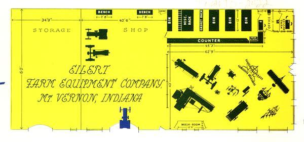 "Overhead schematic of the lay-out of the Eilert Farm Equipment Company, an International Harvester dealership. The illustration appeared in a brochure urging dealers to ""modernize"" their stores."
