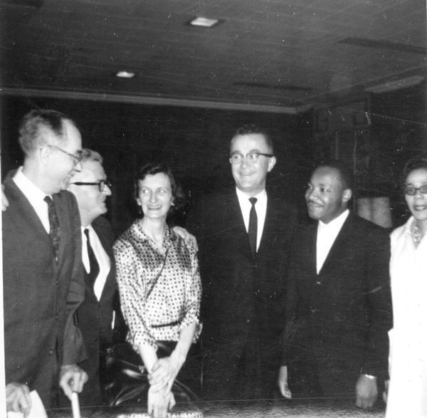 Pictured left to right are James Dombrowski, Carl and Anne Braden, Frank Wilkinson, Martin Luther King, Jr. and Coretta King at a reception in Atlanta, Georgia.