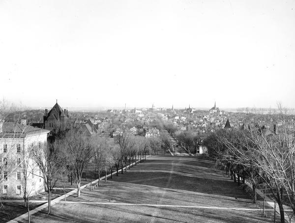 A view from Bascom Hill toward the Wisconsin State Capitol.