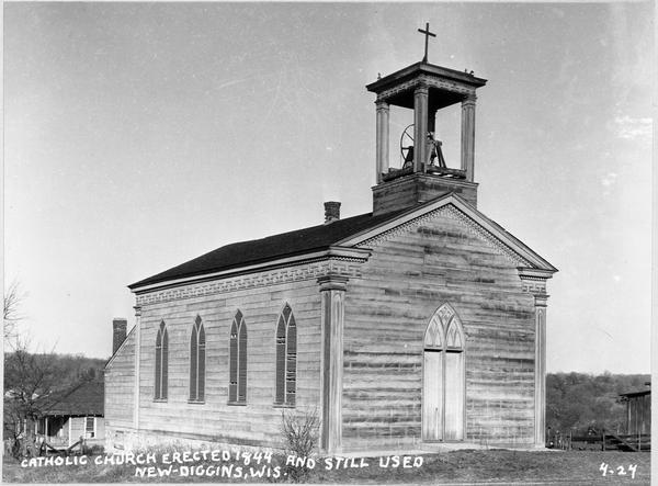 North view of Saint Augustine's Roman Catholic Church, which was designed and built by the Dominican priest Rev. Samuel Charles Mazzuchelli in 1844.