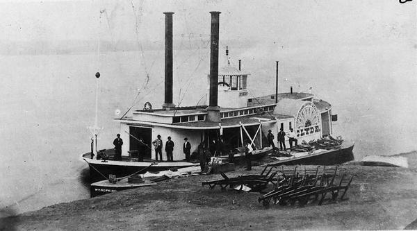 "The sidewheel steam rafter ""Clyde,"" which was the first iron hull steamboat."