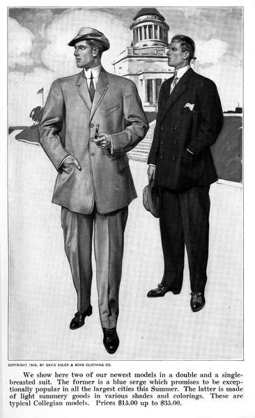 "An illustration of two men modeling spring suits with a domed building in the background, as shown in the spring and summer issue of the ""Fashion Suggester."""