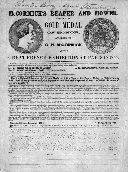 "Handbill and order form advertising reaper and mower manufactured by Cyrus Hall McCormick. This describes the gold medal awarded at the ""Great French Exhibition"" at Paris in 1855."