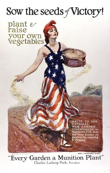 World War I poster promoting individuals to garden and can vegetables for the war effort. Produced by the National War Garden Commission.