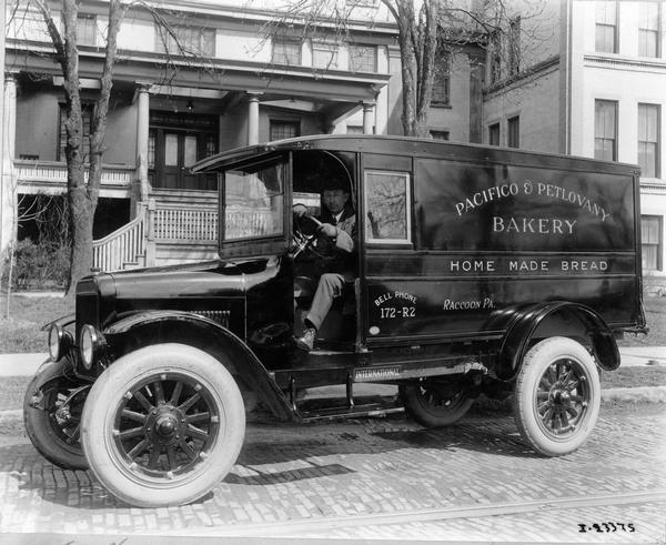 International Harvester Model S truck with delivery body, Pacifico and Petlovany Bakery.