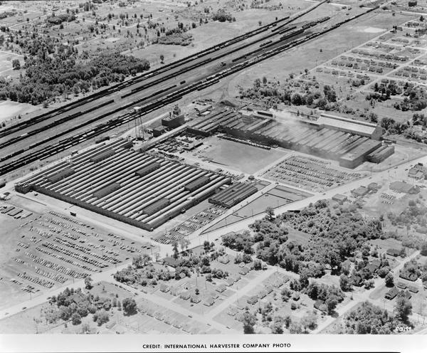 Aerial view of Indianapolis Works, an International Harvester engine factory.