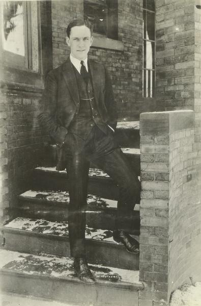 Frederic March as Freddy Bickel, photographed on the steps of his fraternity house when he was president of the 1920 senior class.
