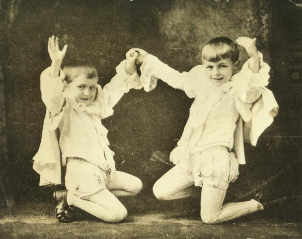 A photograph of Fredric March as a child (on the right) performing in a church pageant with another child.