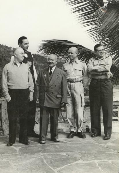 "Homer Bigart, (1907-1991) award-winning journalist with the ""New York Herald-Tribune"" and the ""New York Times"" on far right in group portrait."