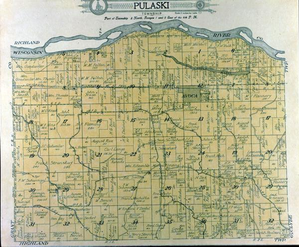 Detailed plat map of the Pulaski township.