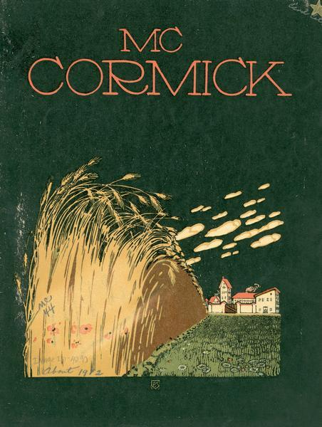 Cover illustration for a McCormick line farm implement catalog showing a wheat field and farm on black background.