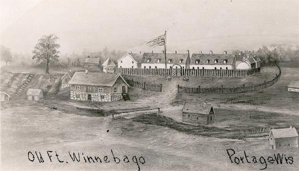 Postcard reproduction of an oil painting of Fort Winnebago, which was built in 1827 by Major William Whistler and a detachment of the First Infantry.