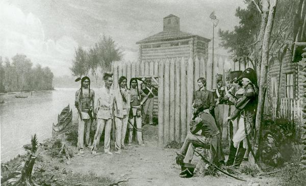 Diorama in the Milwaukee Public Museum depicting Black Hawk's surrender on August 27, 1832 at Fort Crawford in Prairie du Chien.