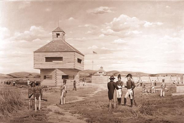 Photograph of a painting by Cal Peters depicting construction of the first Fort Crawford at Prairie du Chien, Wisconsin in 1816.  In the painting, several officers converse with a civilian and two Native Americans watch as soldiers construct a palisade wall and guard towers.