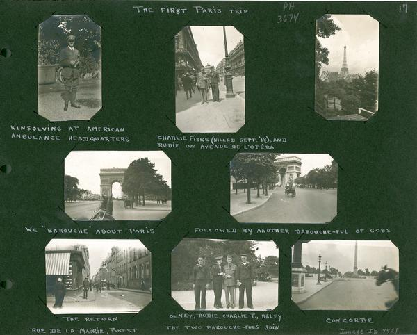 A page of snapshots of Paris scenes and friends visiting Paris.  Part of a scrapbook of photographs from Stevenson's service in World War I.