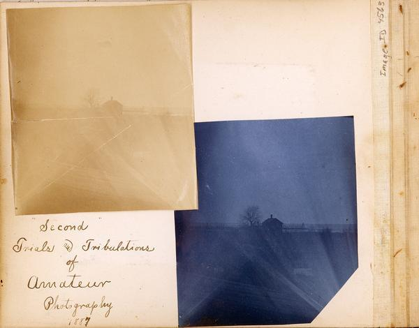 Scrapbook page containing a cyanotype print and an albumen print looking toward Lake Michigan.