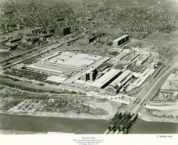 Aerial view of an International Harvester farm machinery manufacturing plant.