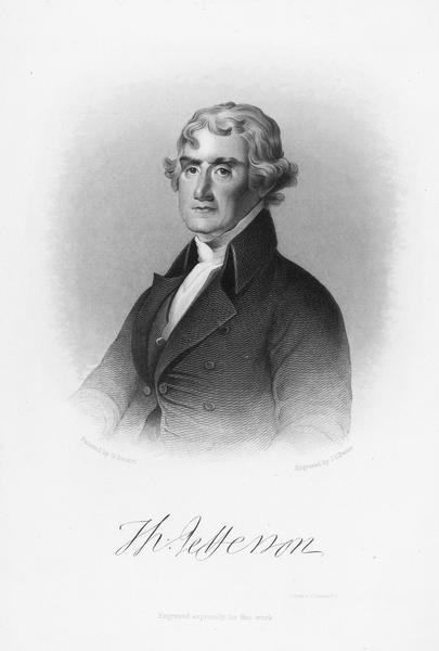 "Quarter-length engraving portrait of Thomas Jefferson painted by G. Stuart and engraved by J.C. Buttre. From ""The History of Democracy in the United States."""