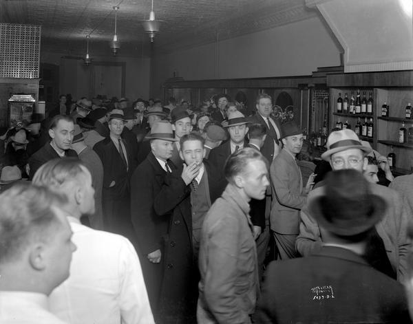 Interior view of the Congress Tavern, 111 Main Street, on a busy night.