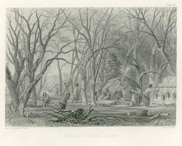 Chippewa Indian Sugar Camp. Plate 61, preceding p. 199, vol. I, <i>The Indian tribes of the United States: their history antiquities, customs, religion, arts, language, traditions, oral legends, and myths</i>, ed. Francis S. Drake, 1884. From the earlier edition in 6 volumes by Henry Rowe Schoolcraft, 1847-57, Pl. 9, p. 59, vol. II.<p>Photocopies of illustrations from Henry Rowe Schoolcraft's Information Respecting the History, Conditions and Prospect of the Indian Tribes of the United States, 1847-1857. 55 copyprints with probable additions. Drawn by Captain Seth Eastman, U.S. Army.</p>