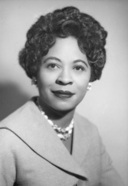 Head and shoulder portrait of Daisy Bates, head of the Arkansas NAACP and a key figure in the Little Rock school desegregation crisis of September 1957.