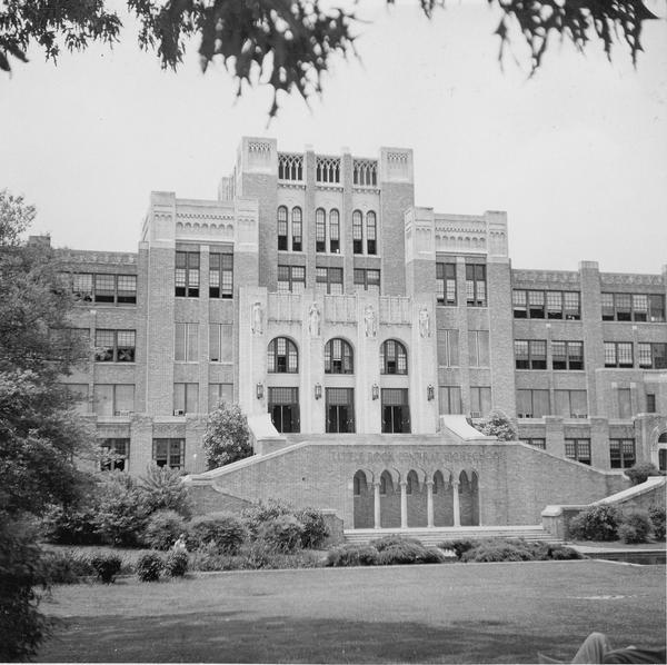 Photograph of Little Rock Central High School. Built in 1927 the school is now a national historic landmark because of the role it played in the school desegregation crisis in September, 1957.