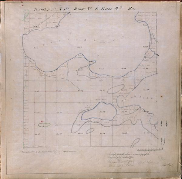 Plat map of the Town of Madison (Township 7N, Range 9E), from Volume 4, Federal Survey Plat Books.