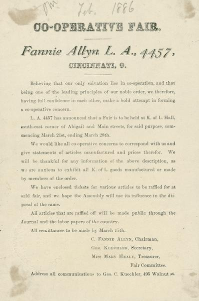 A formal announcement of a Co-operative Fair that was held in March of 1886.