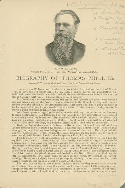 A woodcut image of Thomas Phillips, the general president of the Boot and Shoe Workers International Union, accompanying his biography.