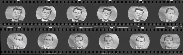 Series of head shots of John F. Kennedy and Richard M. Nixon during the televised 4th debate.