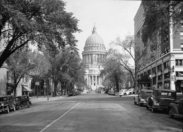 View of the Wisconsin State Capitol from West Washington Avenue.