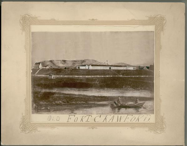 Photograph of a painting of the second Fort Crawford, built 1829-1835.  The first Fort Crawford at Prairie du Chien was built in 1816, abandoned in 1826, re-garrisoned in 1827, and finally abandoned in 1831 in favor of the newly built fort.