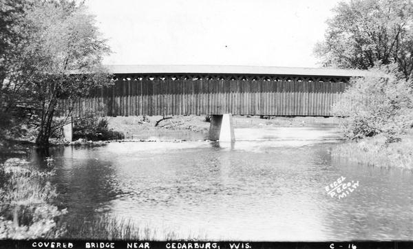 An exterior view of the last covered bridge in Wisconsin.