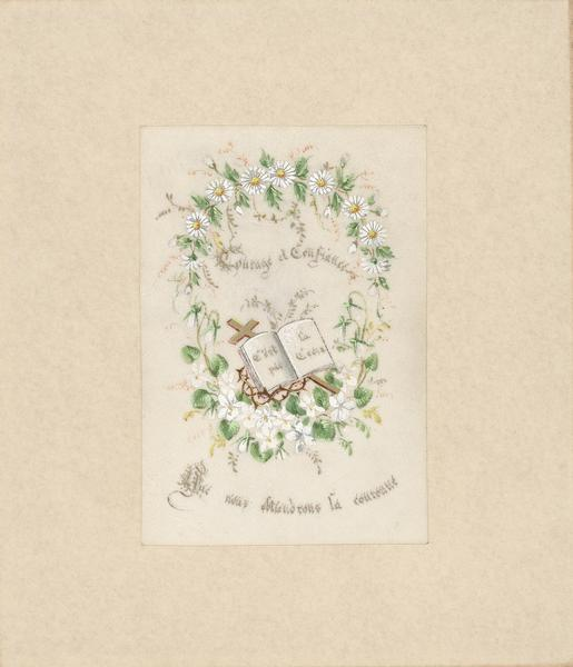 Holy card with watercolor of a wreath of white flowers encircling an open book resting on a cross and crown of thorns.
