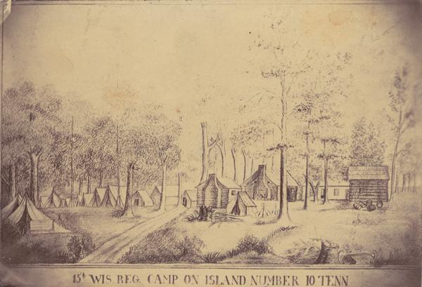 Sketch of the camp of the 15th Regiment of the Wisconsin Volunteer Infantry on Island No. 10 during the Civil War. Colonel Hans Christian Heg commanded the regiment at that time.