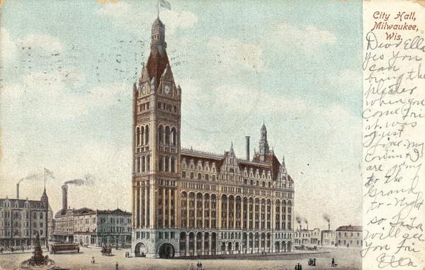 Postcard reproduction of an exterior view of Milwaukee City Hall.